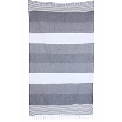 Striped Pestemal Fouta Turkish Cotton Beach Towel Color: Gray