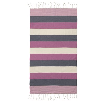 Lightweight Striped Pestemal Fouta Turkish Cotton Beach Towel Color: Pink