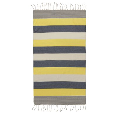Lightweight Striped Pestemal Fouta Turkish Cotton Beach Towel Color: Yellow