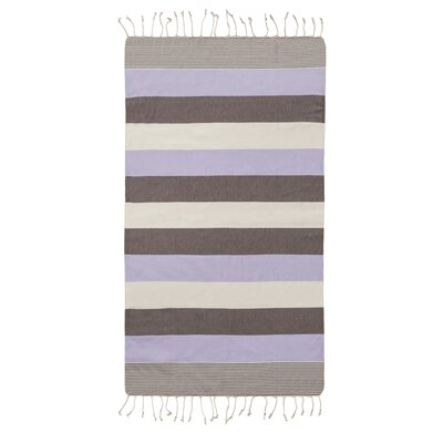 Lightweight Striped Pestemal Fouta Turkish Cotton Beach Towel Color: Lilac