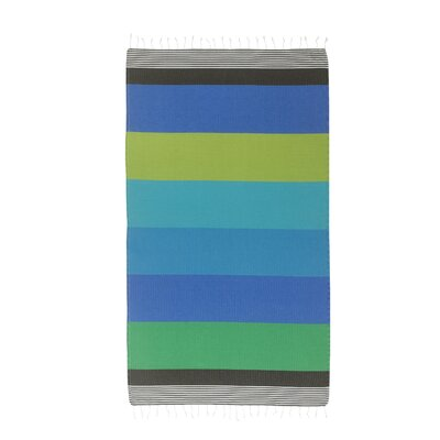 Handmade Striped Pestemal Fouta Turkish Cotton Beach Towel Color: Turqouise