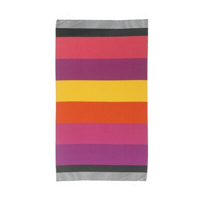Handmade Striped Pestemal Fouta Turkish Cotton Beach Towel Color: Coral