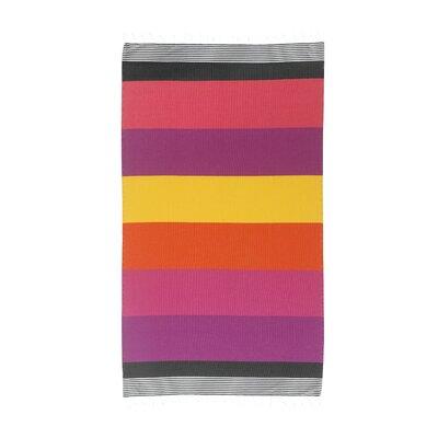 Handmade Striped Pestemal Fouta Turkish Cotton Beach Towel Color: Coral