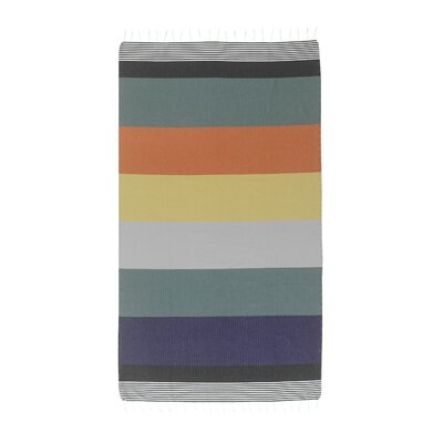 Handmade Striped Pestemal Fouta Turkish Cotton Beach Towel Color: Petrol