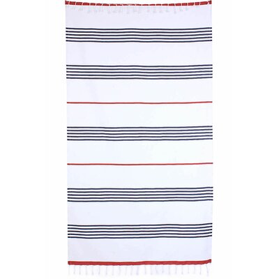 Handmade Pestemal Fouta Turkish Cotton Beach Towel Color: Navy