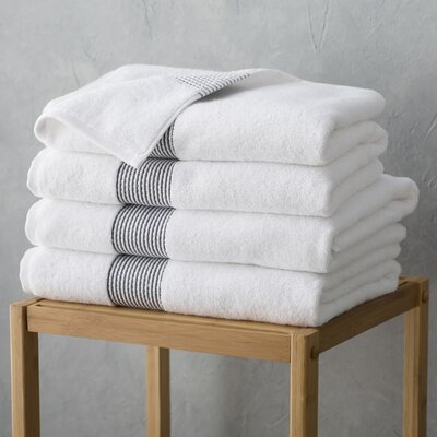 Elegante Bath Towel Color: White/Anthracite