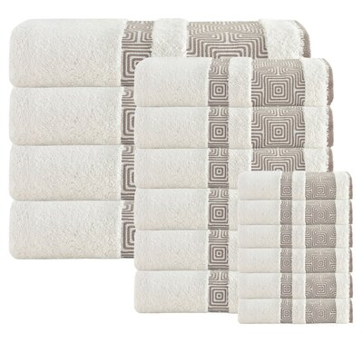 Heritage Hills 16 Piece Turkish Cotton Towel Set Color: Cream