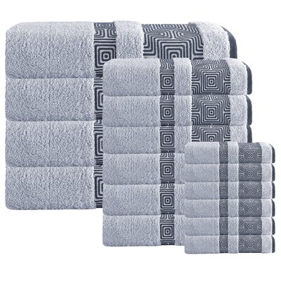 Heritage Hills 16 Piece Turkish Cotton Towel Set Color: Silver