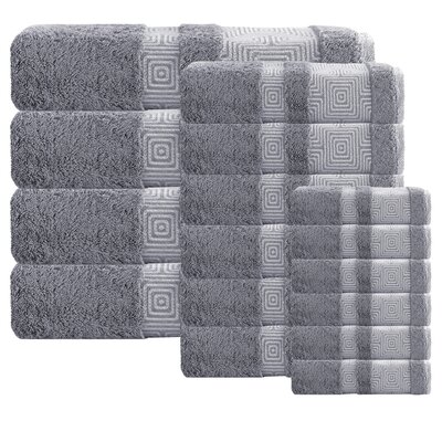 Heritage Hills 16 Piece Turkish Cotton Towel Set Color: Anthrasit