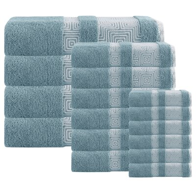 Heritage Hills 16 Piece Turkish Cotton Towel Set Color: Aqua