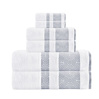 Hibriten 6 Piece Turkish Cotton Towel Set Color: White
