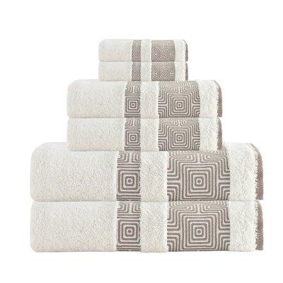 Hibriten 6 Piece Turkish Cotton Towel Set Color: Cream