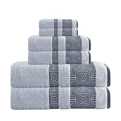 Hibriten 6 Piece Turkish Cotton Towel Set Color: Silver