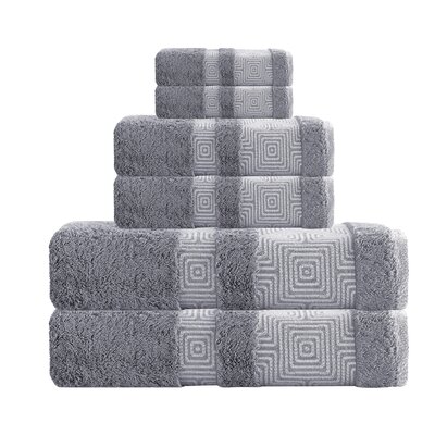Hibriten 6 Piece Turkish Cotton Towel Set Color: Anthrasit