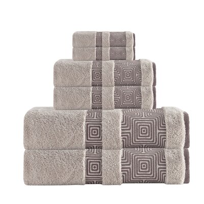 Hibriten 6 Piece Turkish Cotton Towel Set Color: Beige