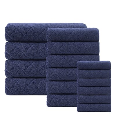 Villeroux 16 Piece Towel Set Color: Navy