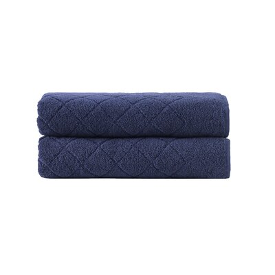 Violet Plush Texture Bath Towel Color: Navy