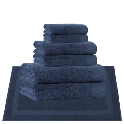 8 Piece Turkish Cotton Towel Set Color: Denim