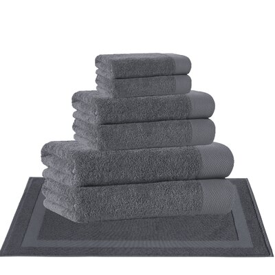8 Piece Turkish Cotton Towel Set Color: Anthracite