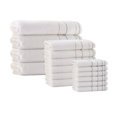 16 Piece Embroidery Towel Set Color: Cream