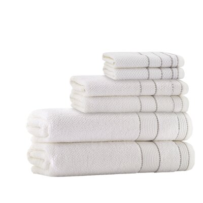 6 Piece Embroidery Towel Set Color: Cream