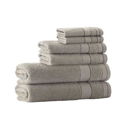6 Piece Embroidery Towel Set Color: Beige