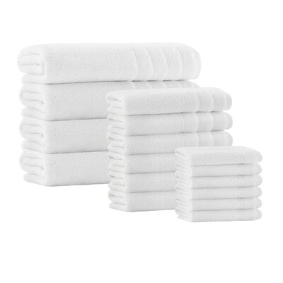 Herard 16 Piece Embroidery Turkish Cotton Towel Set Color: White
