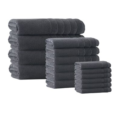 Herard 16 Piece Embroidery Turkish Cotton Towel Set Color: Anthracite