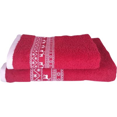 Embellished Christmas Deer 2 Piece Towel Set Color: Red