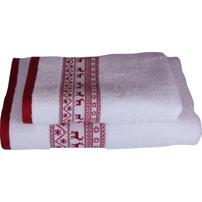 Embellished Christmas Deer 2 Piece Towel Set Color: White