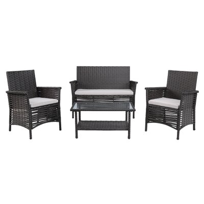 4 Piece Dining Set with Cushions Finish: Brown