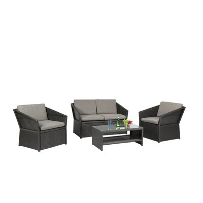 4 Piece Dining Set with Cushions Finish: Black
