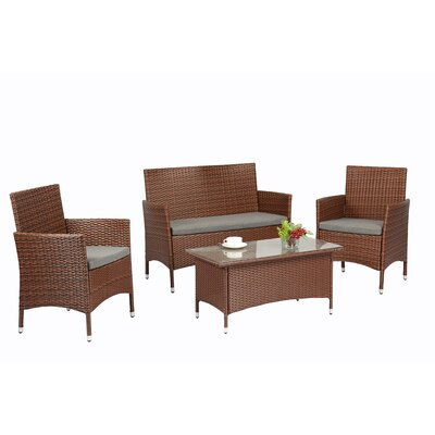 4 Piece Lounge Seating Group with Cushions Finish: Brown