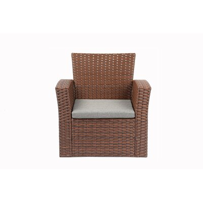 Reordan 4 Pieces Outdoor Furniture Complete Patio Cushion Wicker Rattan Garden Sofa Setl Frame Finish: Brown