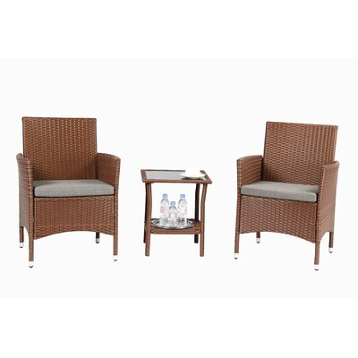 3 Piece Dining Set with Cushions Finish: Brown