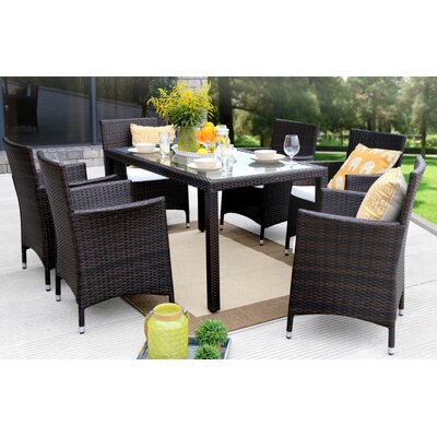 7 Piece Dining Set Finish: Brown
