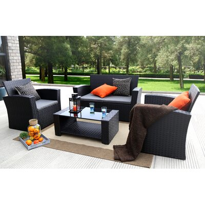 Edward 4 Piece Rattan Sofa Seating Group with Cushions Frame Finish: Black