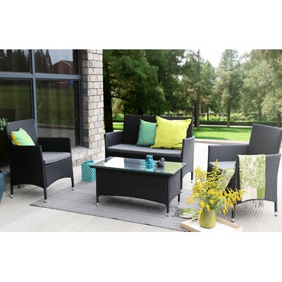 4 Piece Lounge Seating Group with Cushions Finish: Black