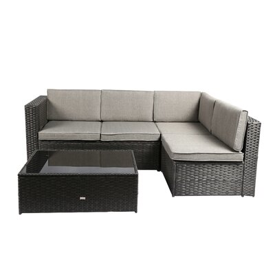 Nat Wicker 3 Piece Sectional Seating Group with Cushion Finish: Black