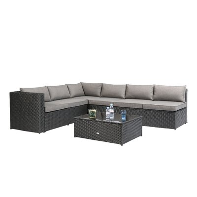 Nat Wicker 4 Piece Sectional Seating Group with Cushion Finish: Black
