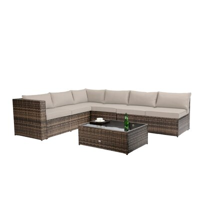 Fewell Sectional with Cushions Color: Brown
