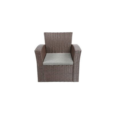 Reordan 4 Pieces Outdoor Furniture Complete Patio Cushion Wicker Rattan Garden Sofa Setl Frame Finish: Chocolate
