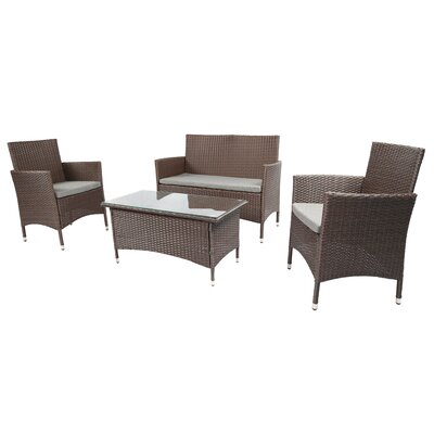 Outdoor Furniture Complete Patio 4 Piece Lounge Seating Group With Cushion