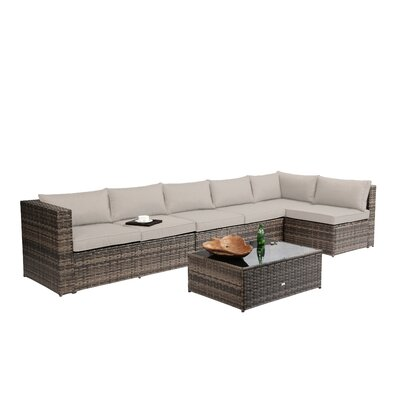 Nat Wicker 4 Piece Sectional Seating Group with Cushion Finish: Brown