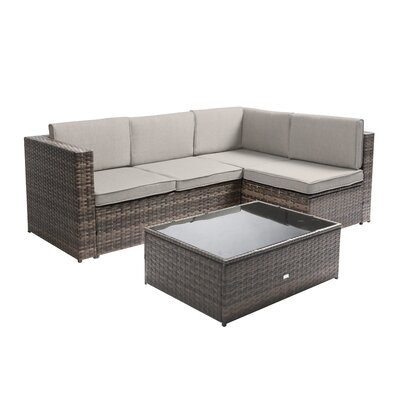 Nat Wicker 3 Piece Sectional Seating Group with Cushion Finish: Brown