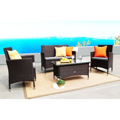 4 Piece Lounge Seating Group with Cushions Finish: Chocolate