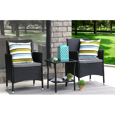 3 Piece Dining Set with Cushions Finish: Black