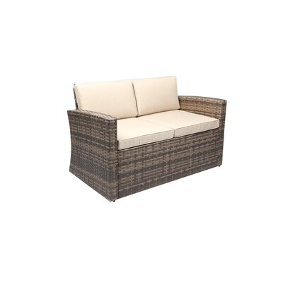 Outdoor Rattan Pool Garden Loveseat with Cushions