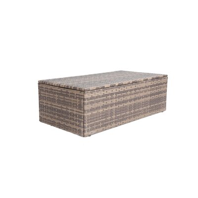 Outdoor Furniture Glass Rattan Rectangle Coffee Table with Storage Compartment