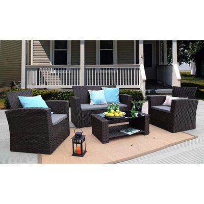 Edward 4 Piece Rattan Sofa Seating Group with Cushions Frame Finish: Chocolate